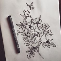 Rose, dog rose and periwinkle @lydiatattoos on instagram #FlowerTattooDesigns