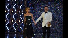 A Kelly Ripa (in a J Mendel flower embellished dress) and guest cohost Ryan Seacrest at our 2017 After Oscar Show! Kelly's Fashion Finder
