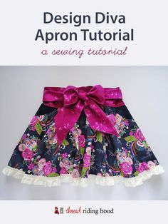 Sherri from Thread Riding Hood shares a tutorial for sewing this flouncy circle skirt apron. The circle skirt has such a fun swingy shape, and it's accented by a small ruffle around the hem. Child Apron Pattern, Apron Pattern Free, Sewing Patterns Free, Sewing Tutorials, Dress Patterns, Sewing Projects, Free Sewing, Sewing Ideas, Diy Projects