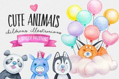 Our Free Design Resources from Design Bundles. Commercial License Included with every free product! What Is Cute, Baby Bundles, Cute Stories, Kawaii, Kids Patterns, Watercolor Animals, Watercolor Paintings, Free Graphics, Free Illustrations