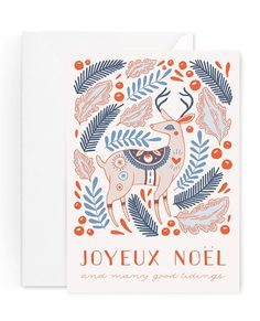 1 Card with Matching Envelope This bright and happy card features a peaceful hand-illustrated reindeer amidst gently falling leaves, ferns and berries. This card is printed on luxe 110lb creamy matte