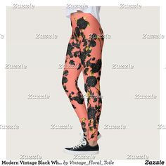 Shop Modern Vintage Black White Gold Pink Floral Leggings created by Vintage_Floral_Toile. Vintage Floral, Vintage Black, Black White Gold, Floral Leggings, Leggings Fashion, Look Cool, Dressmaking, Colorful Backgrounds, Things That Bounce