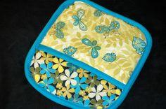 Rectangular pot holder Floral & Butterfly by HandcraftedforKids, $12.00