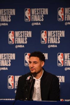 Klay Thompson of the Golden State Warriors speaks to media after game against the Houston Rockets after Game Six of the Western Conference Finals during the 2018 NBA Playoffs on May 2018 at. Rockets Basketball, Basketball Scoreboard, Basketball Floor, Basketball Teams, Golden State Basketball, Houston Basketball, Spalding Basketball Hoop, Best Nba Players, Curry Warriors