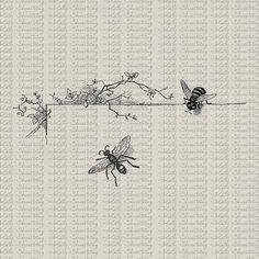 Bee And Floral Vine Vintage Illustration Bee by katyshoestring