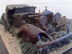 """(I saw this on one of """"abandoned"""" boards I follow.  If you'll look closely, you can see it's a model diorama!!! Their description follows:) Rusty Rolls Royce -- SO SAD to see such a gorgeous vehicle in this shape!"""
