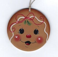 Would adjust the nose placement. Gingerbread Ornaments, Christmas Gingerbread, Christmas Wood, Diy Christmas Ornaments, Christmas Projects, Christmas Decorations, Gingerbread Men, Ornament Crafts, Holiday Crafts
