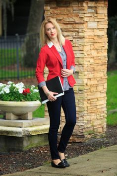 red blazer, dark skinny jeans, hounds-tooth blouse