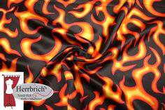 Polyester Satin  Feuer Teufel Fasching rot schwarz von Herrbrich's Textil-Eck auf DaWanda.com