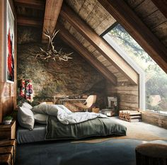 attic-bedroom get the real cave stone look with our limestone natural rock panels just screw them up  fauxstonesheets.com