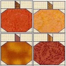 clipart picture of pumpkin quilt blocks