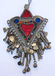 Afghanistan | A Kutchi pendant worn by the nomadic women in Afghanistan | Silver alloy with glass beads.