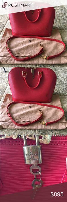 c0897d6fe3d3 Authentic Louis Vuitton Alma PM Red Epi with strap Authentic Louis Vuitton  Red Alma PM Epi