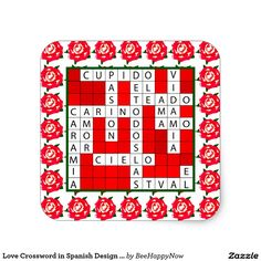 Love Crossword in Spanish Design on Stickers
