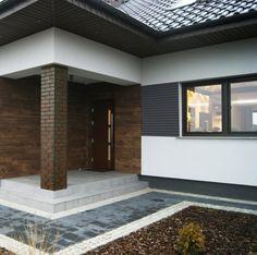 Wizualizacja panelu elewacyjnego PLE2 dostępnego w naszym sklepie! New House Plans, House Exterior, House Outside Design, House Cladding, Entrance Design, Architectural Design House Plans, Building A House, House Designs Exterior, Small House Design Plans