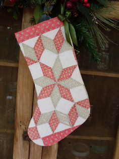 Vintage Red and Green Star Quilt Christmas Stocking