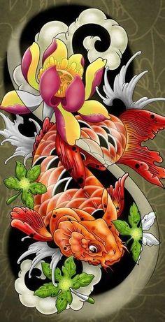 Koi Fish Tattoo Art cross-stitch pattern, #757