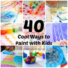40 Cool Ways to Paint with Kids {via Octavia and Vicky}