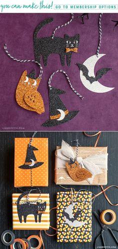 DIY Glittery Halloween Tags - Lia Griffith - www.liagriffith.com #diyinspiration #diyhalloween #giftwrapping #diyidea #diyideas #paperart #papercut #madewithlia