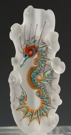 - Seahorse Glass Sculpture by Kimberly Affleck - Mosaic Glass, Fused Glass, Glass Beads, Blown Glass, Stained Glass, Cristal Art, Art Of Glass, Murano, Lampwork Beads