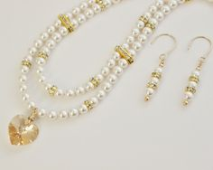 Wedding White Swarovski Crystal Pearls, Swarovski Crystal Rondelles and Spacers Gold Filled Necklace and Earring Set