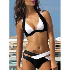 Chic Spaghetti Strap Color Block Criss-Cross Bikini Set For Women