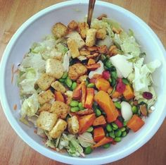 Lettuce, butternut squash, egg whites, cranberries, edamame, cottage cheese, toasted almonds and whole-grain croutons