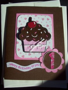 cupcake 1st birthday card