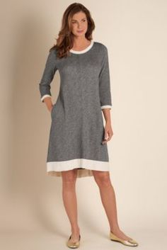 Vineyard Dress - Marled French Terry Dress, Scoop Neck 3/4 Sleeve Dress | Soft Surroundings
