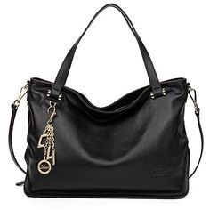 Cluci Womens Cow Leather Designer Handbags Satchel Purse Tote Crossbody Bags Black * You can find out more details at the link of the image.Note:It is affiliate link to Amazon.