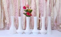 Milk glass Vases 6 Large Tall Flower Milk Glass Vase Vintage Rustic Wedding Shabby Chic Baby Bridal Shower (43.99 USD) by OnceUponaTimeFinds