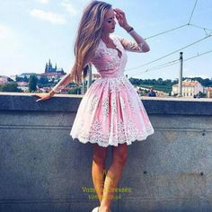 Pink Lace Prom Dress With Long Sleeves, Short Prom Dress With Lace Appliques, Princess Short Homecoming Dress Sweet , Homecoming Dresses New Fashion ,Prom Dress Lace Homecoming Dresses, Prom Dresses 2017, Ball Dresses, Ball Gowns, Short Dresses, Sexy Dresses, Dress Long, Mini Dresses, Dress Formal