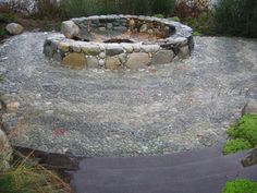 AWESOME Firepit! Stone Mosaic Patio Garden Design