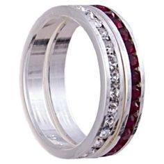 Diamond and Ruby CZ Stacking Eternity Bands, Sterling Silver Setting Spire Arts. $29.99. Comes complete with gift box. Nearly 2 carats total diamond and ruby cz weight. Two stackable diamond and ruby cz eternity bands. Sterling silver setting. Brilliant sparkle and shine
