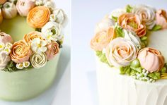 buttercream flowers in peach by Eat Cake Be Merry buttercream flowers tutorial