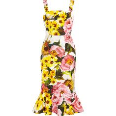 Dolce & Gabbana Floral-print textured stretch-cotton dress (25 655 UAH) ❤ liked on Polyvore featuring dresses, dolce & gabbana, платья, floral fit-and-flare dresses, flower print dress, yellow floral print dress, sunflower yellow dress and floral day dress