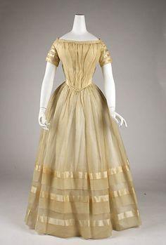 Wedding dress Date: 1849 Culture: American Medium: cotton, silk Accession Number: C.I.60.20.1