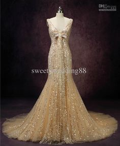 Wholesale New Arrival Bling Bling Crystals Gold Sequins luxury Mermaid V-neck Monarch train Wedding Dresses, Free shipping, $454.55/Piece | DHgate Mobile