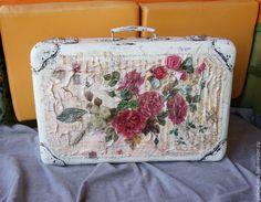 """Купить Чемодан""""Романтический.С розами"""" - белый, винтаж, чемодан декупаж, чемоданчик, шебби стиль, большой размер"""