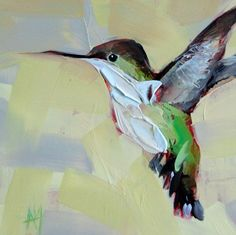 Hummingbird no. 38   prattcreekart A little different because I used a palette knife.