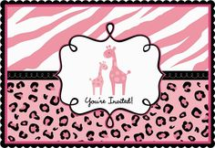 A cute momma giraffe and her baby adorn the center front of the Sweet Safari Girl Shower Postcard Baby Shower Invitations.