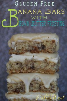 Gluten Free Banana Bars with Brown Butter Frosting - TGIF - This Grandma is Fun - Gluten Free Recipes Gluten Free Bars, Gluten Free Deserts, Gluten Free Banana, Gluten Free Sweets, Foods With Gluten, Gluten Free Cookies, Sans Gluten, Gluten Free Recipes, Dairy Free