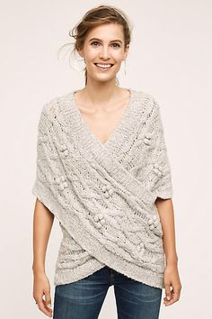 Cabled Crossover Wrap - anthropologie.com. INSPIRATION: create a crochet pattern for 2 cabled rectangles and one solid sewed together!