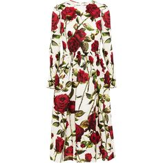 Dolce & Gabbana Floral-print silk-organza dress ($4,645) found on Polyvore featuring dresses, white cocktail dresses, floral dress, floral print dress, dolce gabbana dresses and white slip dress