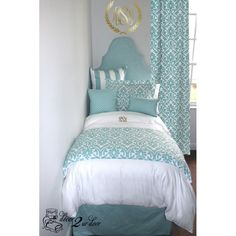 Canal Blue & White Delight Designer Bedding Set   Dorm Room, Teen Girl & Apartment. Dorm Décor and More! Available in all bed sizes: twin, full/queen, and king. Custom pillows, exclusive bed scarf, window panels, wall art, bed skirts, and custom monogramming! Custom-made designer bedding and accessories.