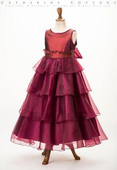 商品番号: CC0312 子どもドレス サーキュラーフリルオーガンジードレス 120 130cm 赤 ボルドー ワインレッド 発表会 結婚式 キッズ