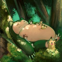 Snorlax is one of my favourite Pokemon. I love all of the pictures based off of Totoro Pokemon Snorlax, Pikachu, Pokemon Fan Art, Gif Pokemon, Plant Pokemon, Pokemon Stuff, Totoro, Pokemon Crossover, Fanart