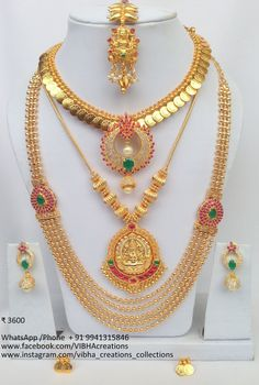 Vibha Creations and Collections ~ South India Jewels Gold Necklace Simple, Gold Jewelry Simple, Indian Wedding Jewelry, Wedding Jewelry Sets, Indian Jewelry, Kerala Jewellery, South Indian Jewellery, Ruby Necklace, Gold Necklaces
