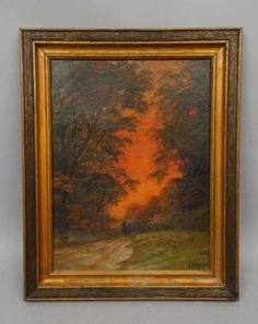 Early-20c-Saugatuck-Michigan-Luminist-Sunset-Landscape-Painting-Signed-J-Drapp