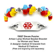 Medical ID Bracelet 2027 Dream Puzzler from Medical ID Fashions and Designer Abbe Sennett